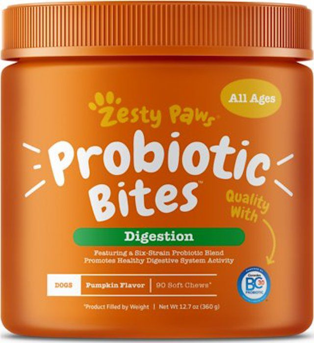 Zesty Paws Probiotic Bites with Natural Digestive Enzymes Pumpkin Flavor Chews for Dogs