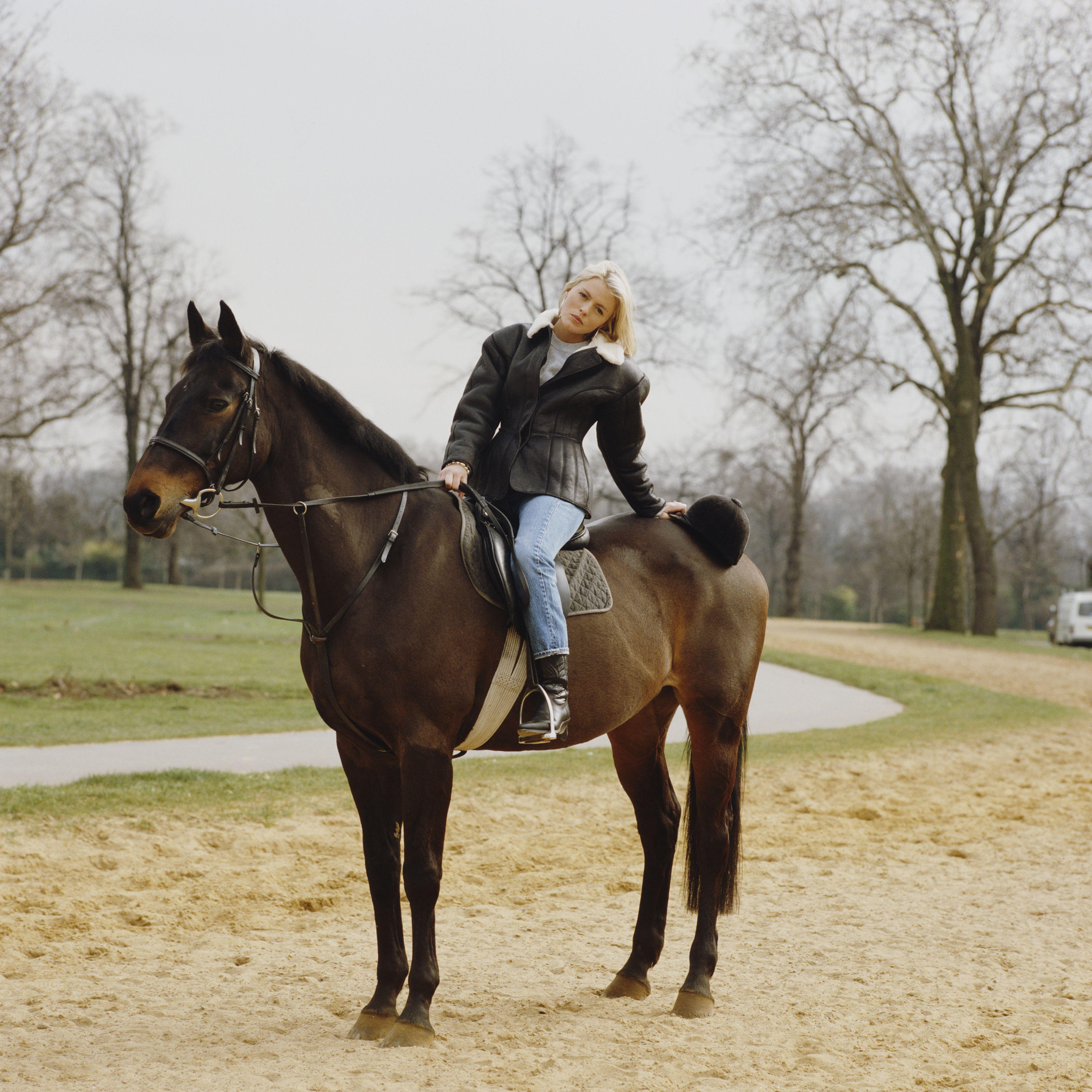 English Actress and Singer Patsy Kensit Sitting on a Horse, Circa 1995