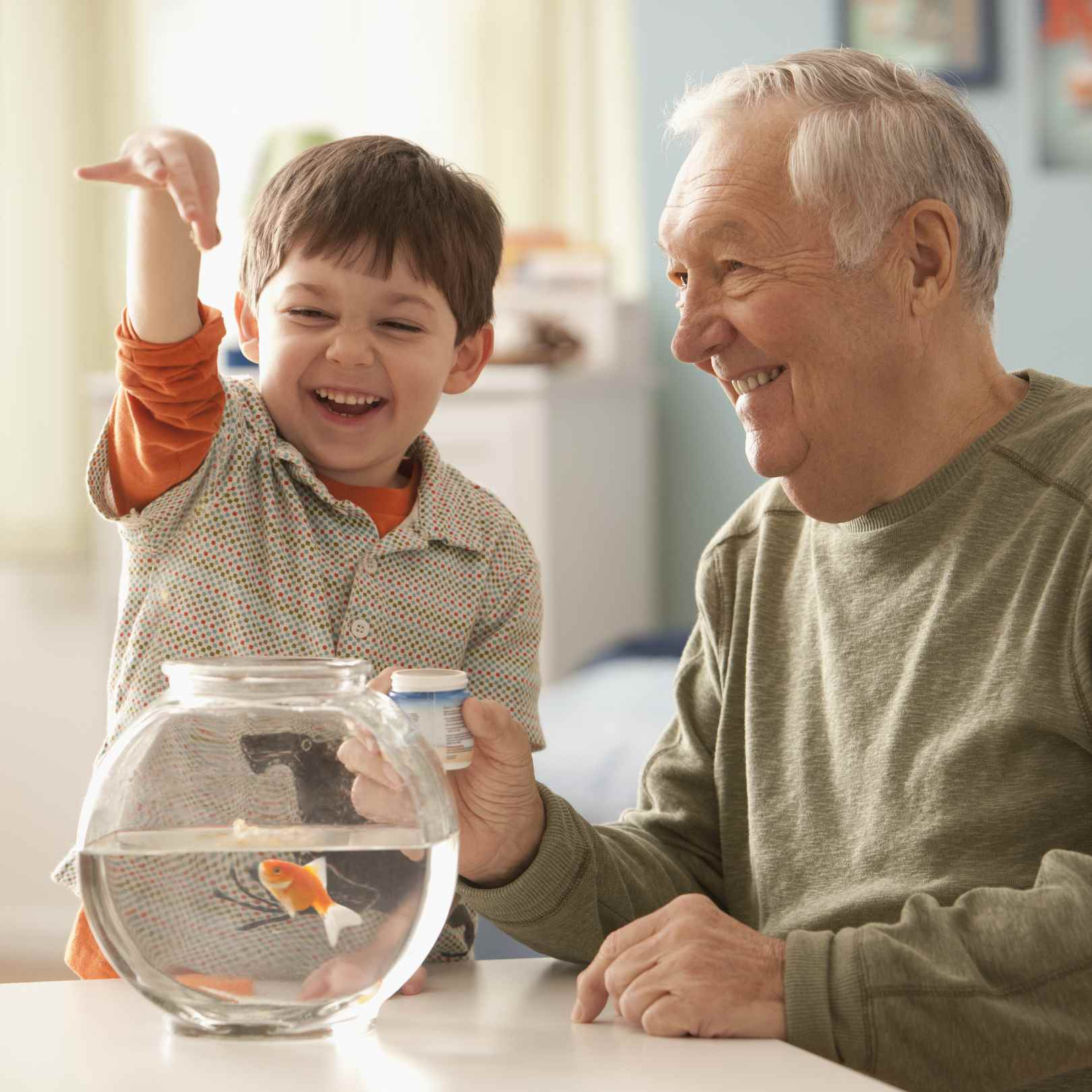 Goldfish being fed by a male child and male senior