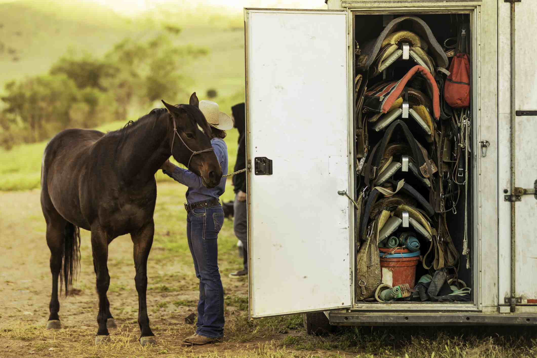 Storage compartment in horse trailer