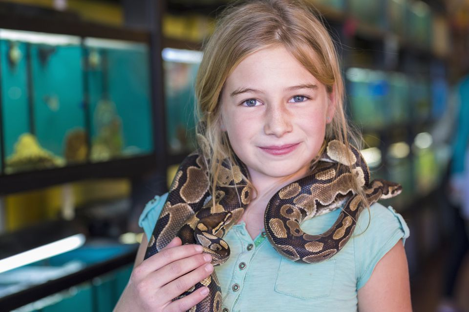 girl and pet snake