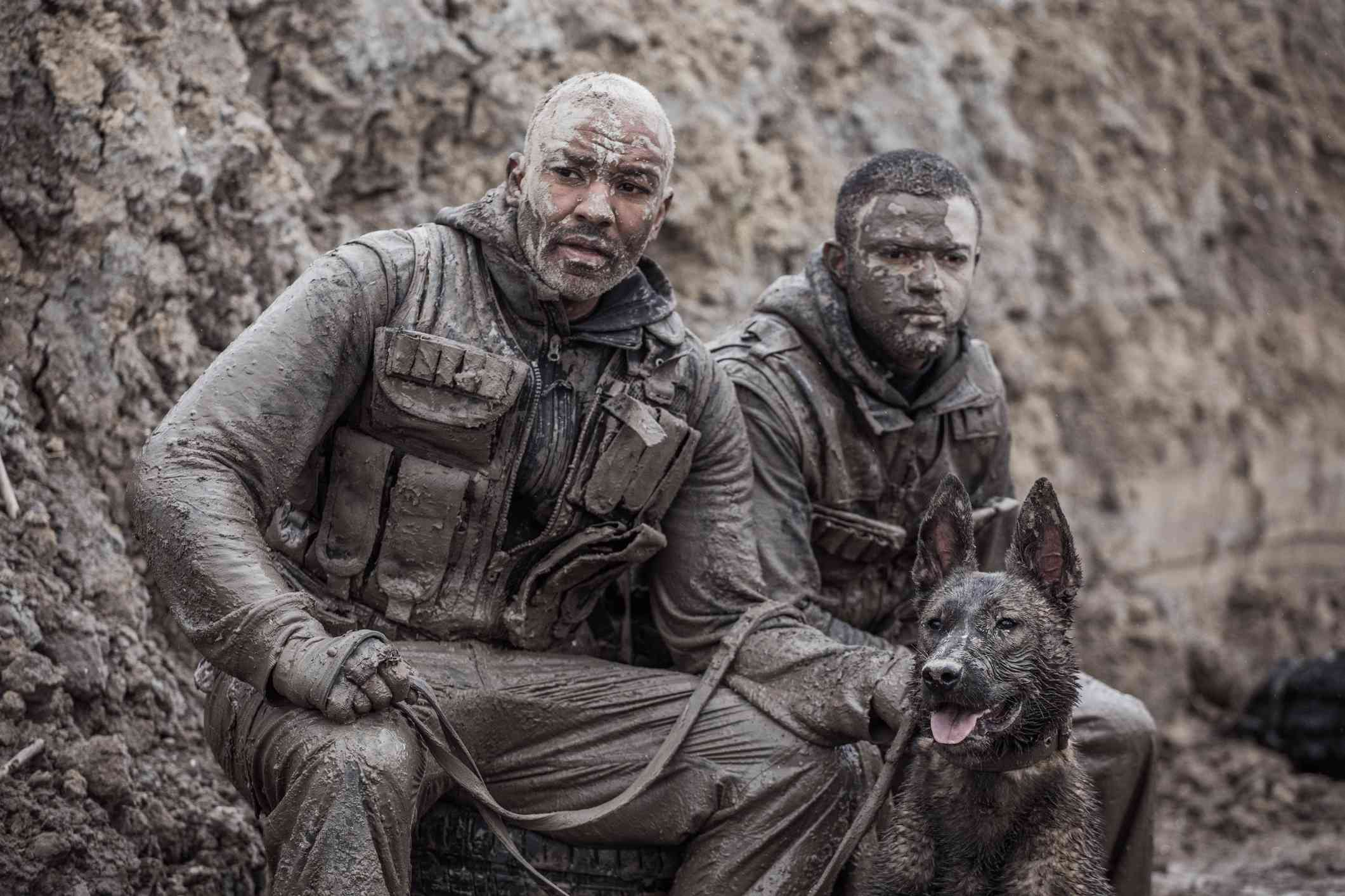 A Dutch Shepherd Dog and his military handlers
