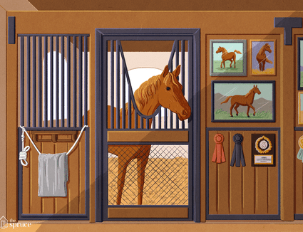 Illustration of a horse in a stable