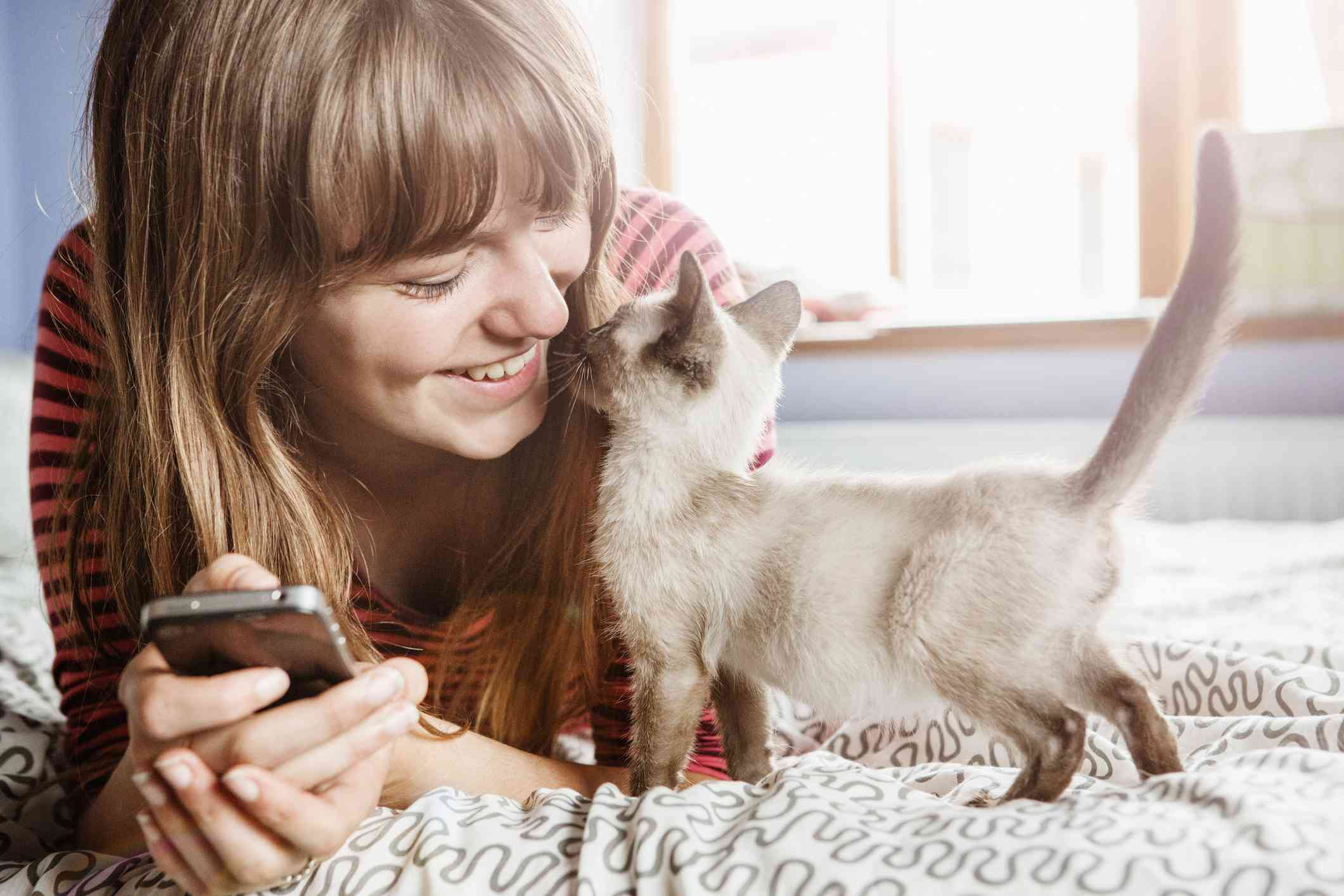 Young woman holding her phone and getting cuddles from a kitten.
