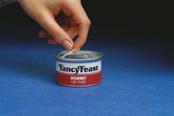 Photo of Person Opening a Can of FancyFeast Cat Food