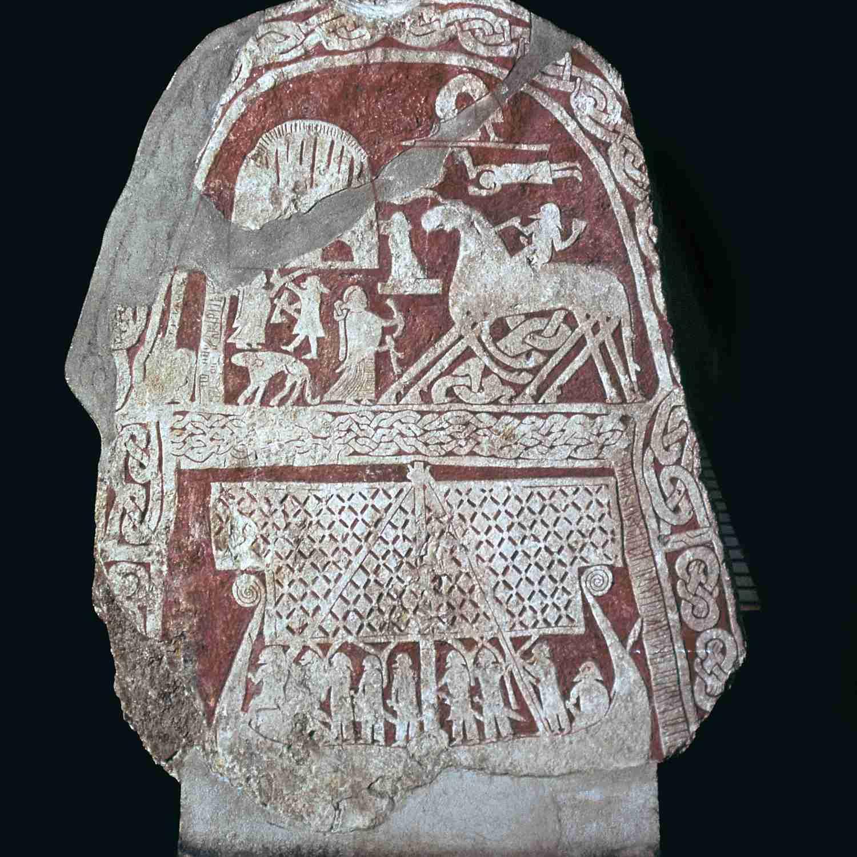 Viking stele showing Odin's horse Sleipnir.