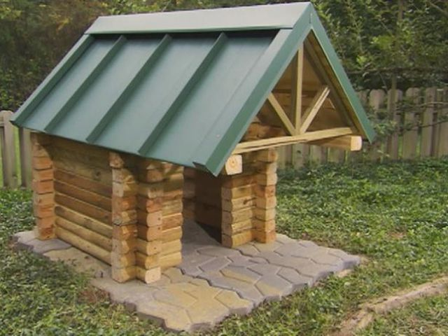 A Log Cabin Style Dog House Diy Network