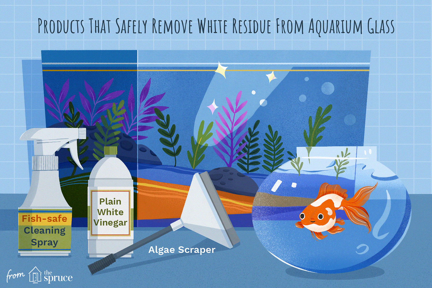 products that safely remove white residue from aquarium glass illustration