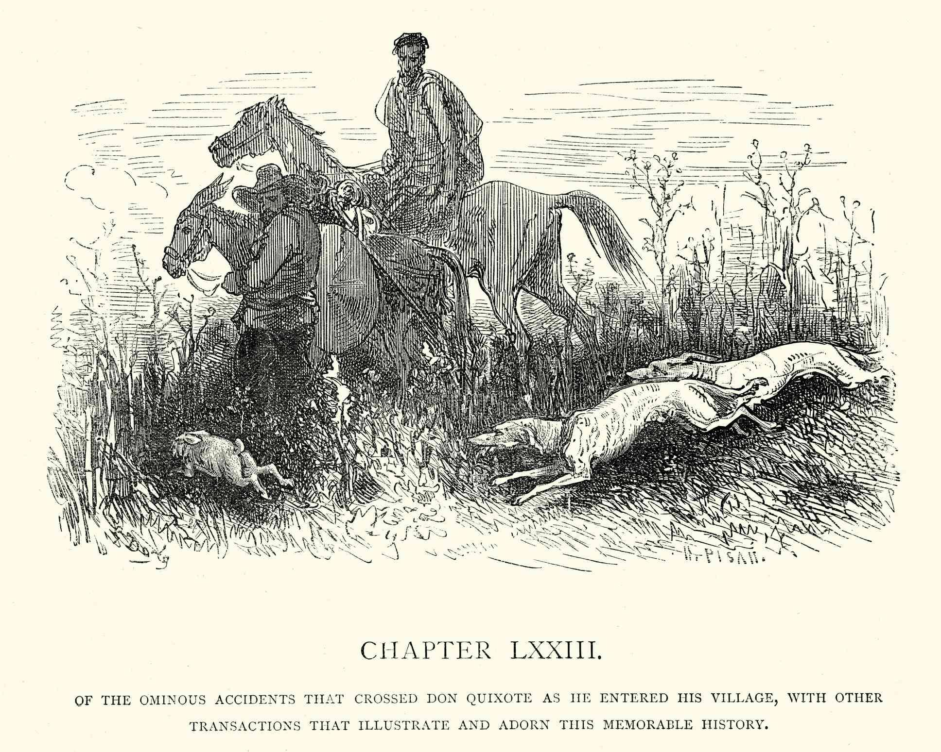 Ilustración de Don Quijote, de Miguel de Cervantes con Galgos