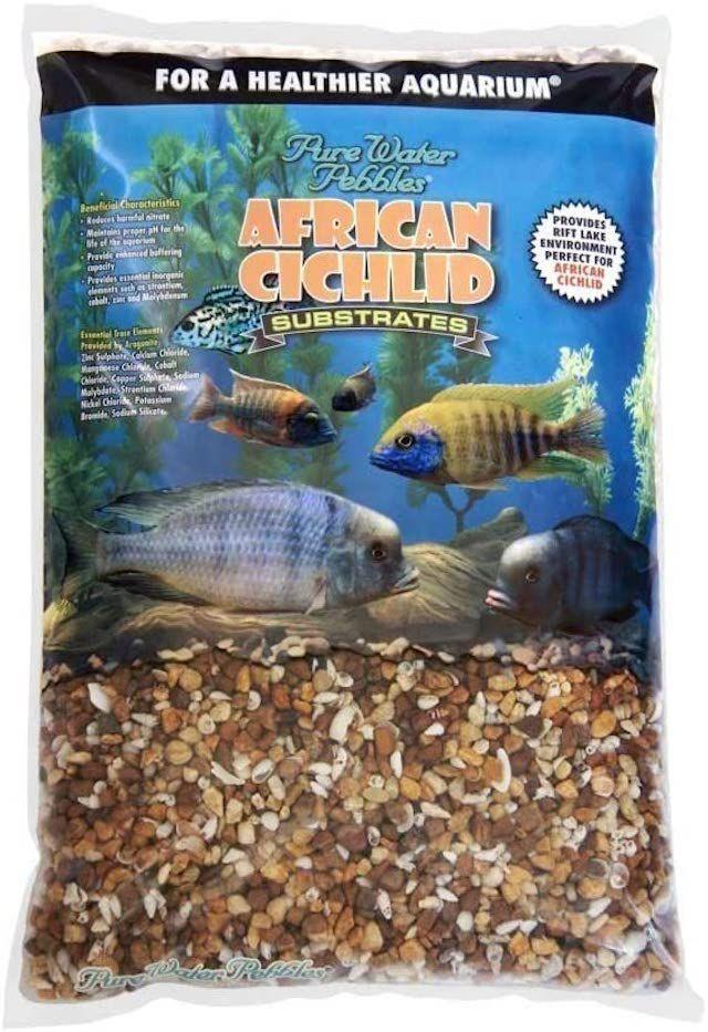 Pure Water Pebbles African Cichlid Bio-Activ Natural White Aquarium Live Sand for African Cichlids 20 LB