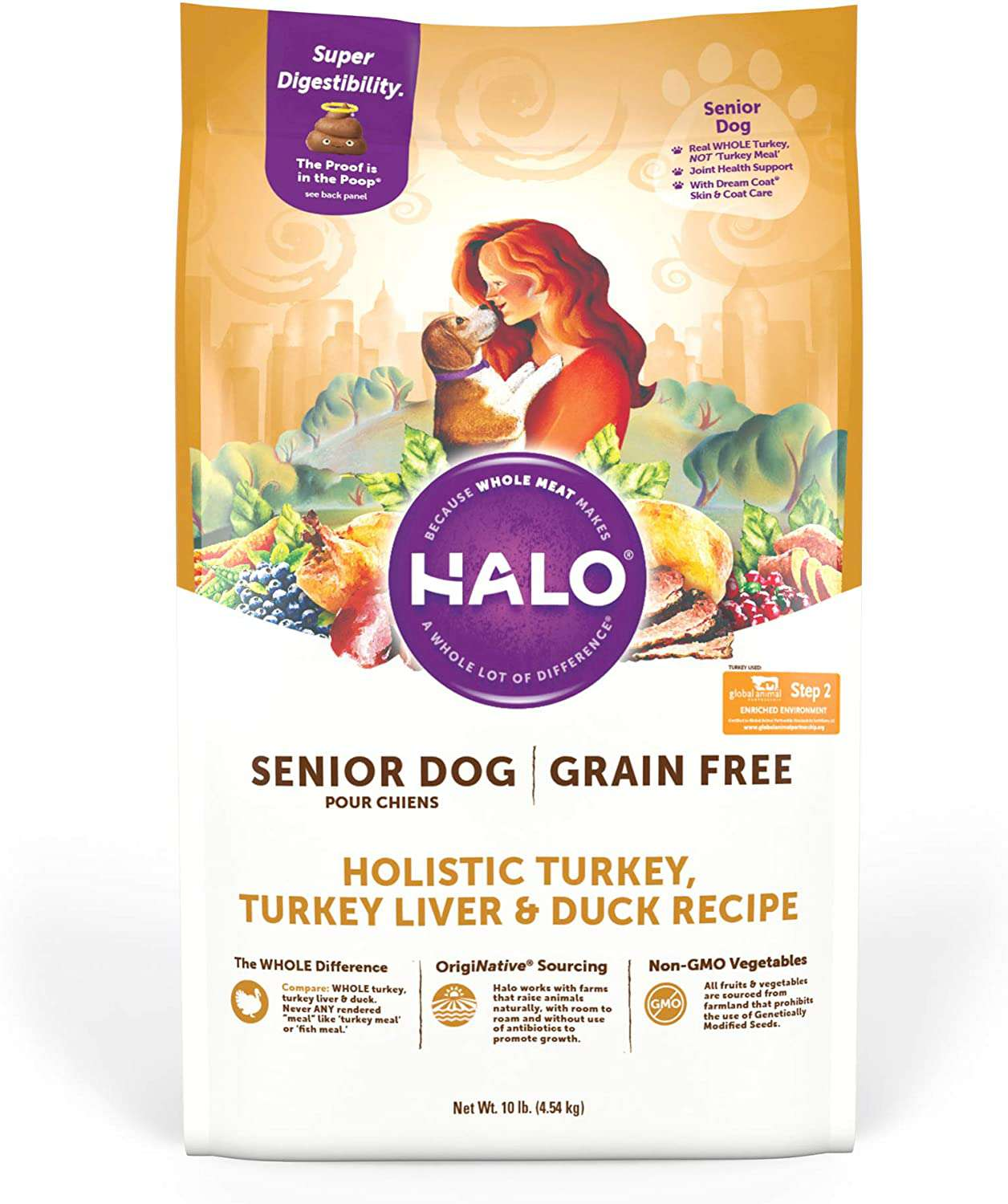 Halo Purely For Pets Holistic Grain-Free Natural Dry Dog Food for Senior Dogs