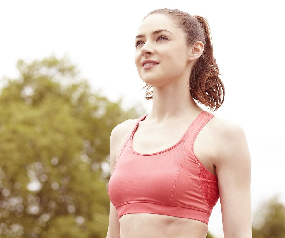 young woman wearning jog bra