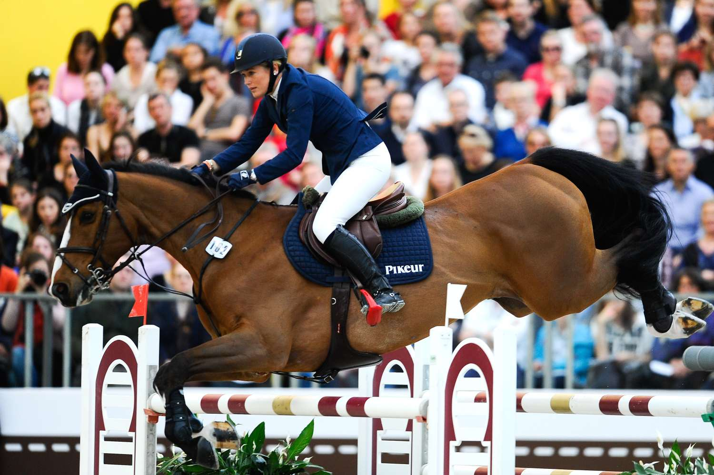 Horse jumping at show