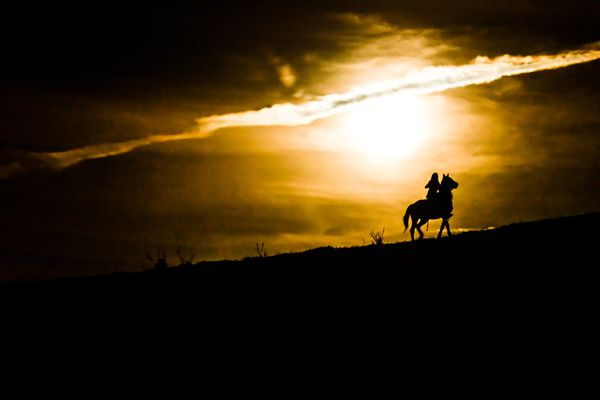 Horse and rider silhouetted against moonlight.