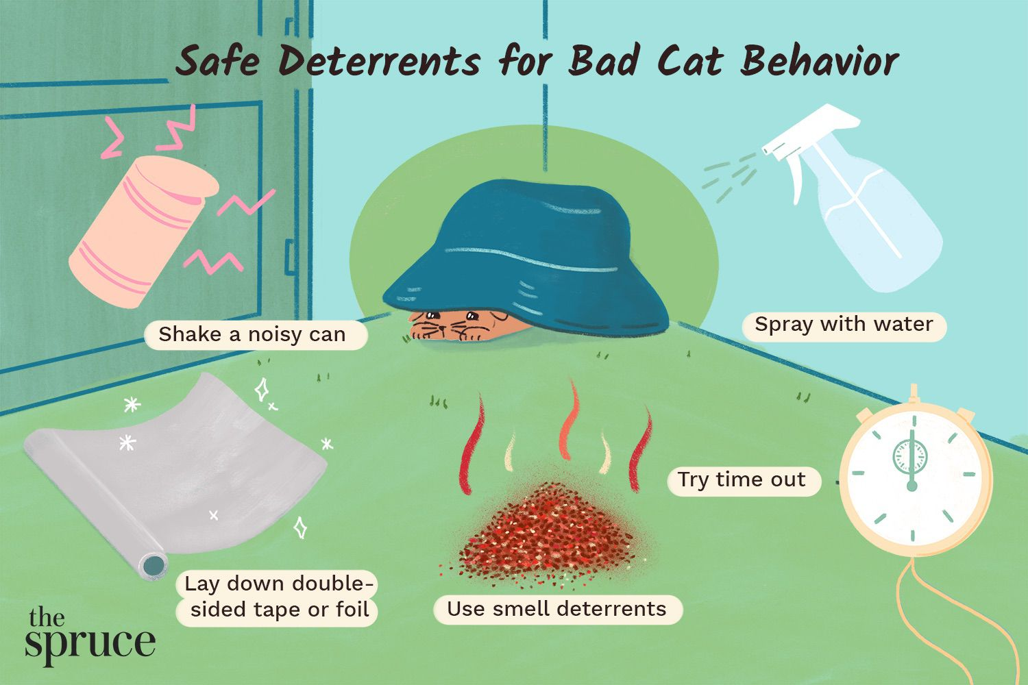 An illustration featuring 5 ways to deter bad cat behavior, like shaking a noisy can or spraying with water.