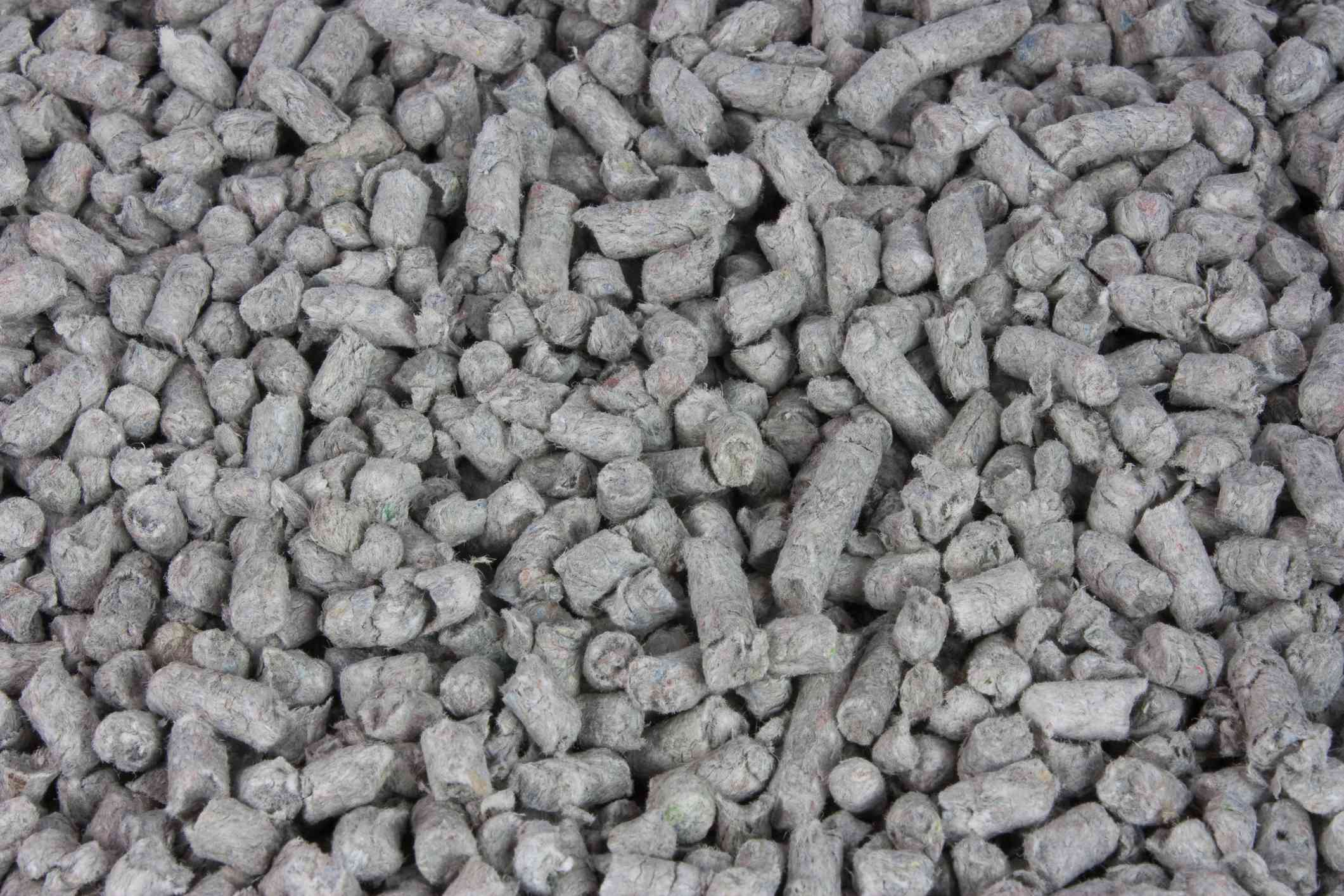 Paper-based cat litter close-up