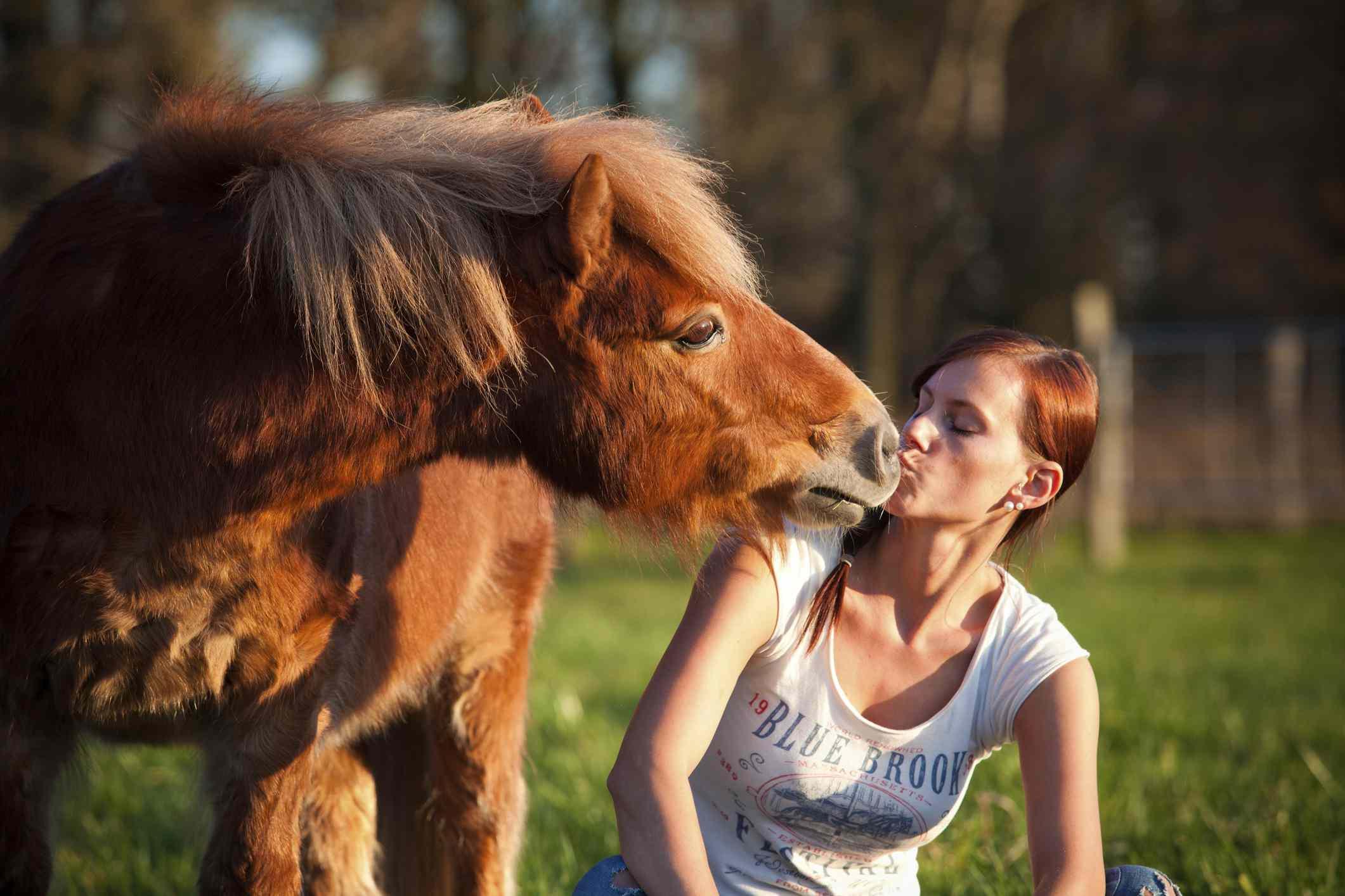 Pony nuzzling girl