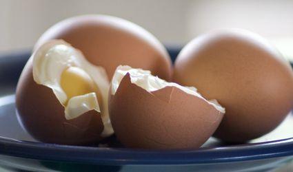 hard-boiled eggs cut in half