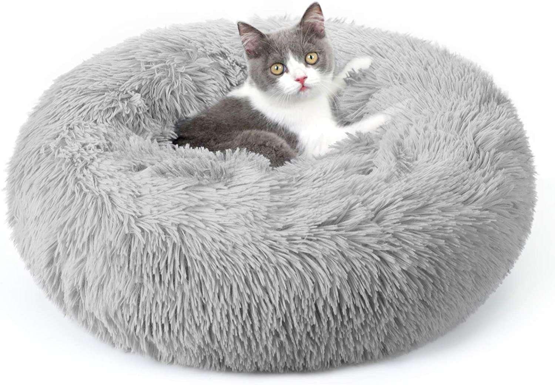 Rabbitgoo Soft Plush Donut Cuddler Cushion Pet Bed