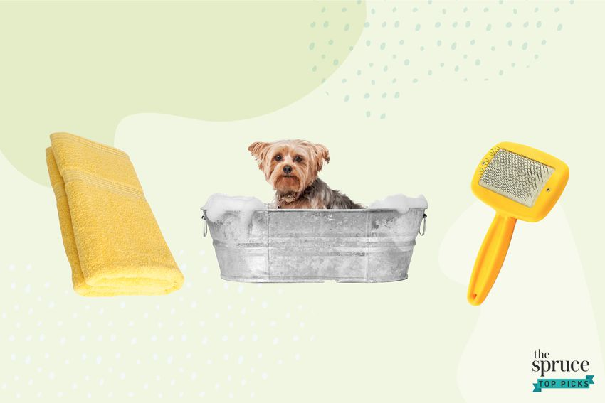 Photo composite of a yellow towel and grooming brush, and a dog being bathed in a bucket.