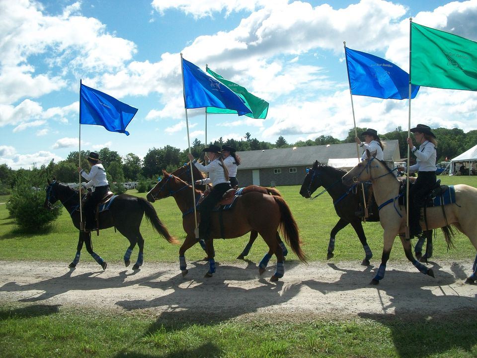 five horses, with riders carrying colorful flags