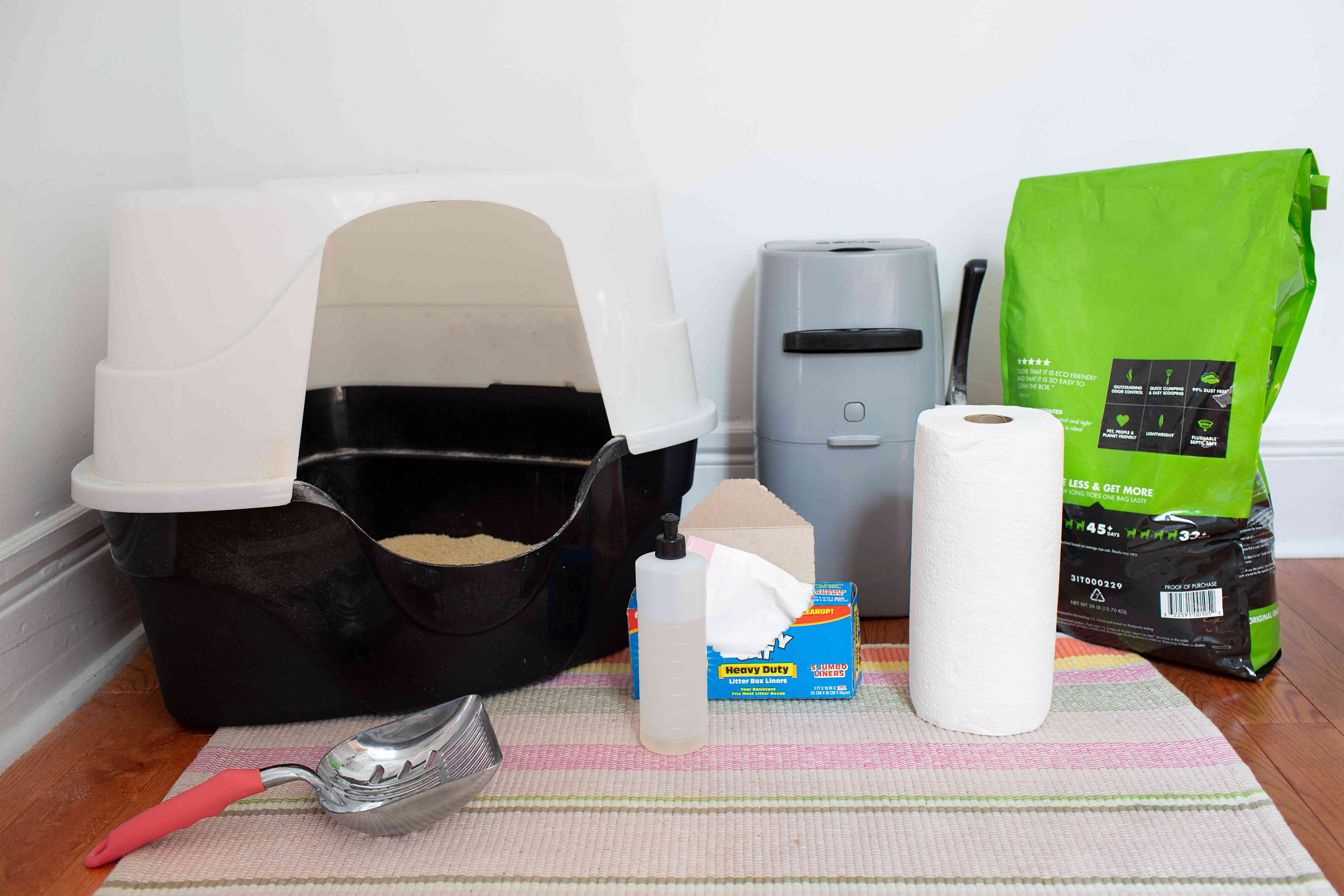 materials for setting up and cleaning a litter box