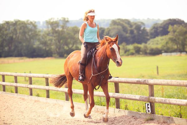 Woman riding a horse on a track