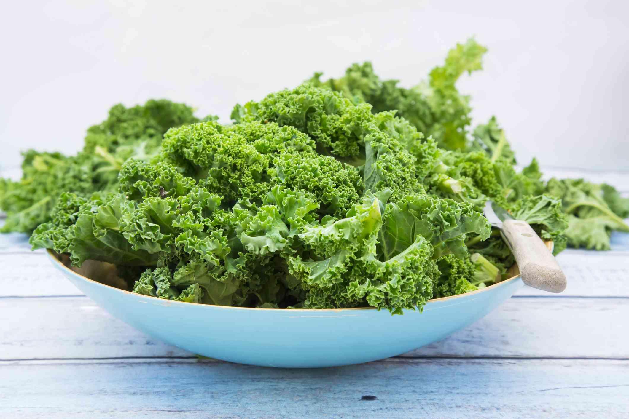 Bowl of raw kale