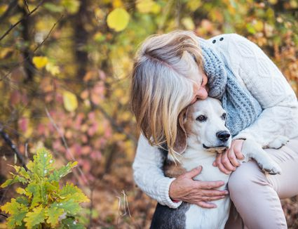 Senior woman outside in the fall with a senior beagle.