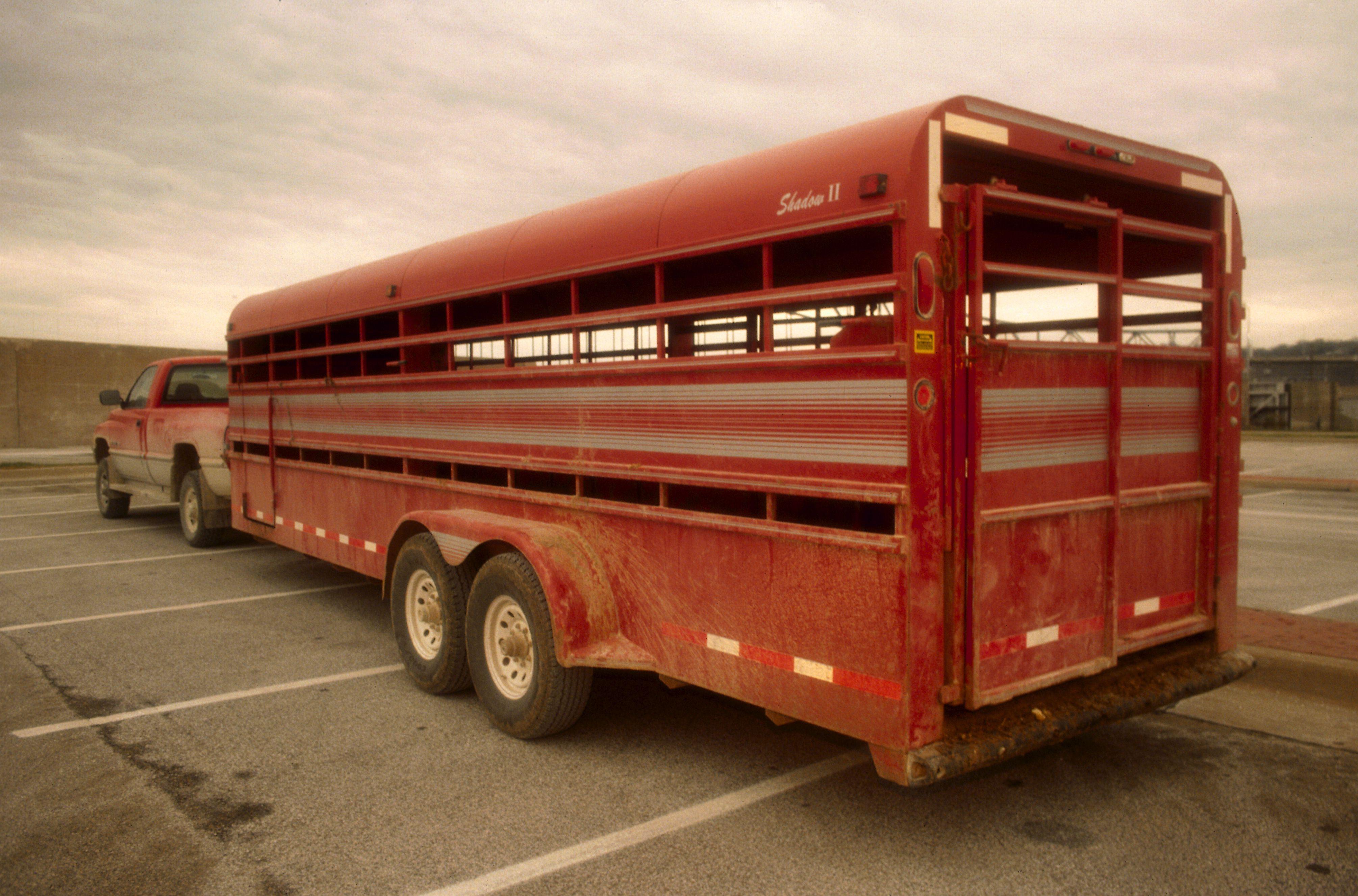 A metal stock trailer.